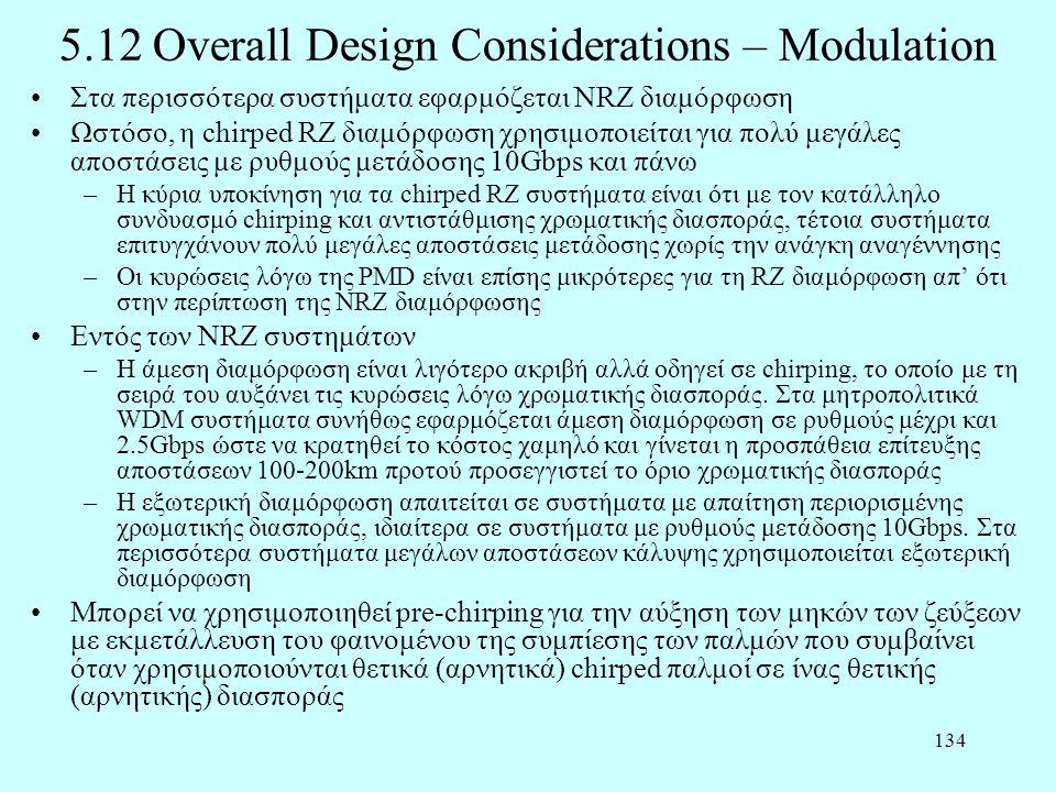 134 5.12 Overall Design Considerations – Modulation •Στα περισσότερα συστήματα εφαρμόζεται NRZ διαμόρφωση •Ωστόσο, η chirped RZ διαμόρφωση χρησιμοποιε