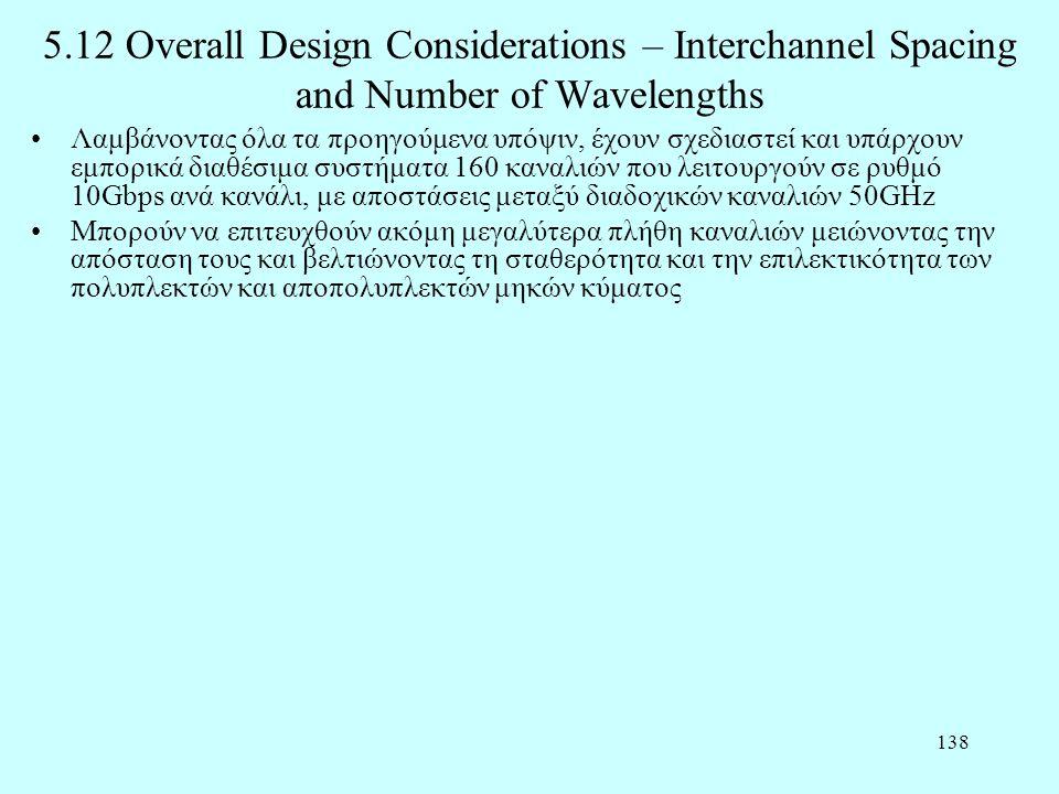 138 5.12 Overall Design Considerations – Interchannel Spacing and Number of Wavelengths •Λαμβάνοντας όλα τα προηγούμενα υπόψιν, έχουν σχεδιαστεί και υ