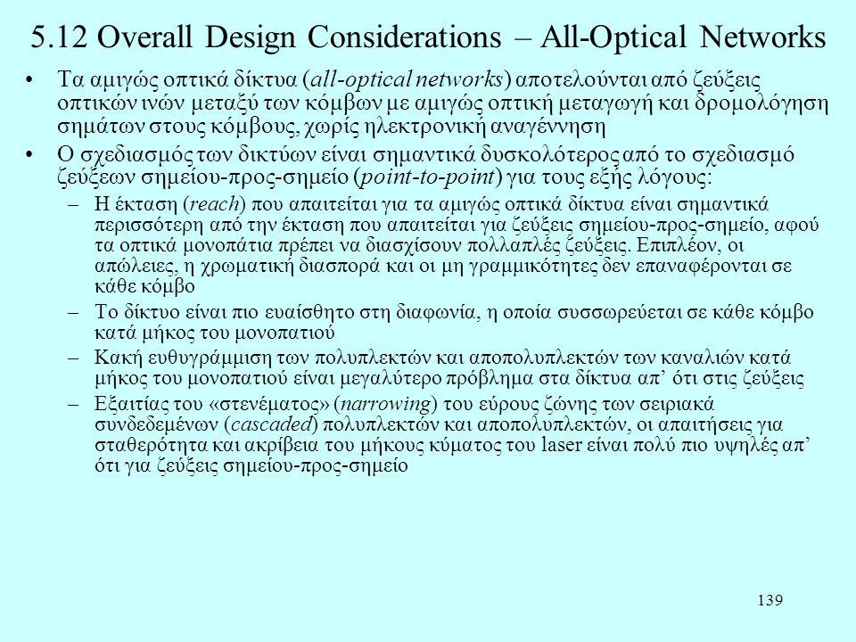 139 5.12 Overall Design Considerations – All-Optical Networks •Τα αμιγώς οπτικά δίκτυα (all-optical networks) αποτελούνται από ζεύξεις οπτικών ινών με