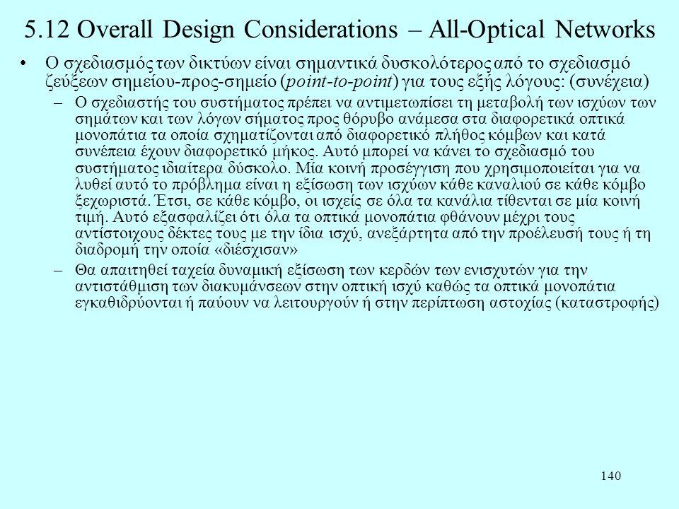 140 5.12 Overall Design Considerations – All-Optical Networks •Ο σχεδιασμός των δικτύων είναι σημαντικά δυσκολότερος από το σχεδιασμό ζεύξεων σημείου-