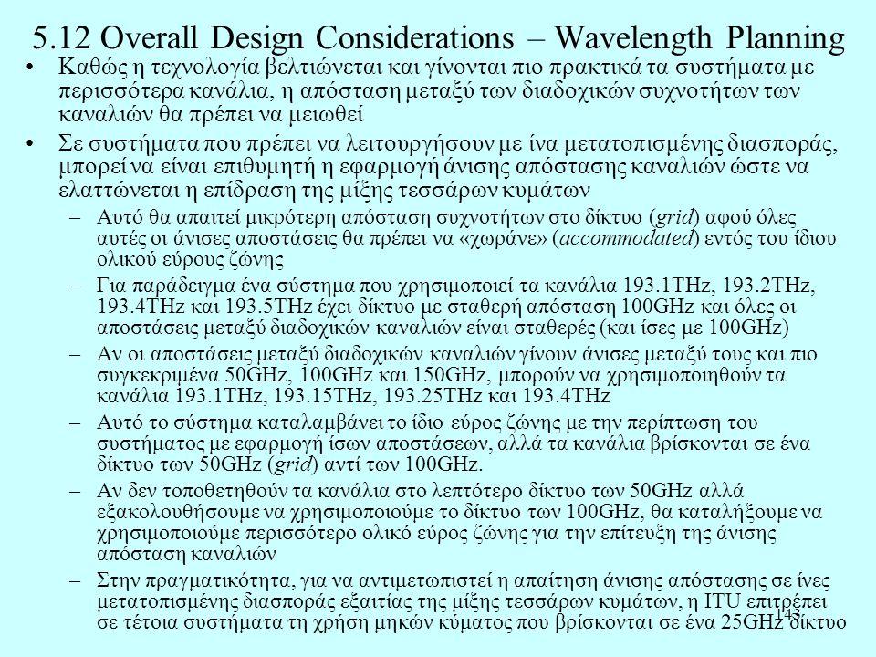 143 5.12 Overall Design Considerations – Wavelength Planning •Καθώς η τεχνολογία βελτιώνεται και γίνονται πιο πρακτικά τα συστήματα με περισσότερα καν