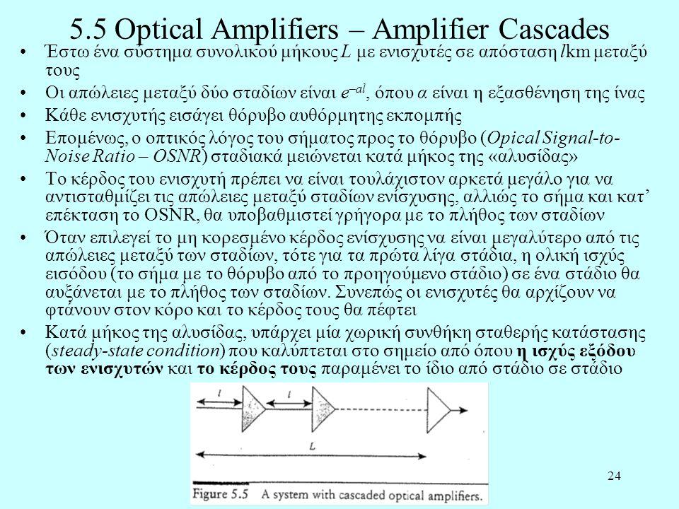 24 5.5 Optical Amplifiers – Amplifier Cascades •Έστω ένα σύστημα συνολικού μήκους L με ενισχυτές σε απόσταση lkm μεταξύ τους •Οι απώλειες μεταξύ δύο σταδίων είναι e –al, όπου α είναι η εξασθένηση της ίνας •Κάθε ενισχυτής εισάγει θόρυβο αυθόρμητης εκπομπής •Επομένως, ο οπτικός λόγος του σήματος προς το θόρυβο (Opical Signal-to- Noise Ratio – OSNR) σταδιακά μειώνεται κατά μήκος της «αλυσίδας» •Το κέρδος του ενισχυτή πρέπει να είναι τουλάχιστον αρκετά μεγάλο για να αντισταθμίζει τις απώλειες μεταξύ σταδίων ενίσχυσης, αλλιώς το σήμα και κατ' επέκταση το OSNR, θα υποβαθμιστεί γρήγορα με το πλήθος των σταδίων •Όταν επιλεγεί το μη κορεσμένο κέρδος ενίσχυσης να είναι μεγαλύτερο από τις απώλειες μεταξύ των σταδίων, τότε για τα πρώτα λίγα στάδια, η ολική ισχύς εισόδου (το σήμα με το θόρυβο από το προηγούμενο στάδιο) σε ένα στάδιο θα αυξάνεται με το πλήθος των σταδίων.