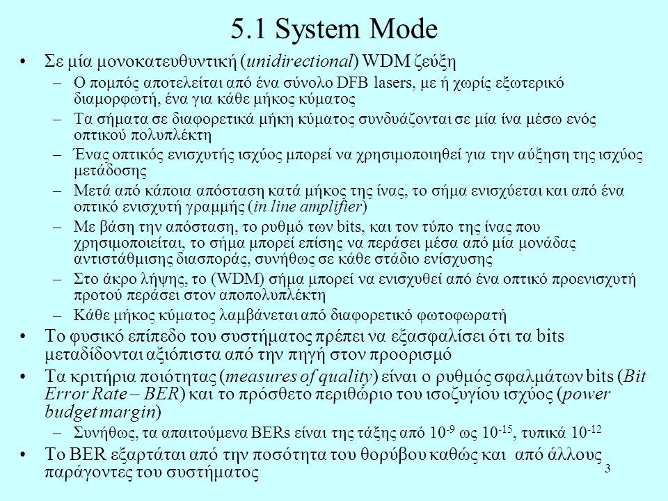 3 5.1 System Mode •Σε μία μονοκατευθυντική (unidirectional) WDM ζεύξη –Ο πομπός αποτελείται από ένα σύνολο DFB lasers, με ή χωρίς εξωτερικό διαμορφωτή, ένα για κάθε μήκος κύματος –Τα σήματα σε διαφορετικά μήκη κύματος συνδυάζονται σε μία ίνα μέσω ενός οπτικού πολυπλέκτη –Ένας οπτικός ενισχυτής ισχύος μπορεί να χρησιμοποιηθεί για την αύξηση της ισχύος μετάδοσης –Μετά από κάποια απόσταση κατά μήκος της ίνας, το σήμα ενισχύεται και από ένα οπτικό ενισχυτή γραμμής (in line amplifier) –Με βάση την απόσταση, το ρυθμό των bits, και τον τύπο της ίνας που χρησιμοποιείται, το σήμα μπορεί επίσης να περάσει μέσα από μία μονάδας αντιστάθμισης διασποράς, συνήθως σε κάθε στάδιο ενίσχυσης –Στο άκρο λήψης, το (WDM) σήμα μπορεί να ενισχυθεί από ένα οπτικό προενισχυτή προτού περάσει στον αποπολυπλέκτη –Κάθε μήκος κύματος λαμβάνεται από διαφορετικό φωτοφωρατή •Το φυσικό επίπεδο του συστήματος πρέπει να εξασφαλίσει ότι τα bits μεταδίδονται αξιόπιστα από την πηγή στον προορισμό •Τα κριτήρια ποιότητας (measures of quality) είναι ο ρυθμός σφαλμάτων bits (Bit Error Rate – BER) και το πρόσθετο περιθώριο του ισοζυγίου ισχύος (power budget margin) –Συνήθως, τα απαιτούμενα BERs είναι της τάξης από 10 -9 ως 10 -15, τυπικά 10 -12 •Το BER εξαρτάται από την ποσότητα του θορύβου καθώς και από άλλους παράγοντες του συστήματος