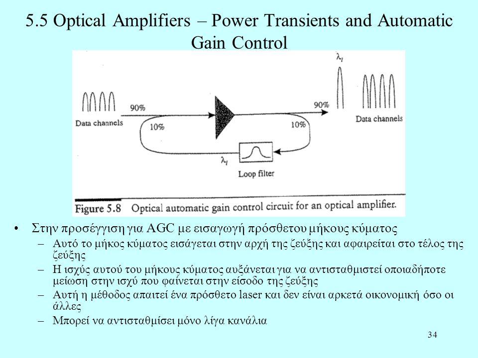 34 5.5 Optical Amplifiers – Power Transients and Automatic Gain Control •Στην προσέγγιση για AGC με εισαγωγή πρόσθετου μήκους κύματος –Αυτό το μήκος κύματος εισάγεται στην αρχή της ζεύξης και αφαιρείται στο τέλος της ζεύξης –Η ισχύς αυτού του μήκους κύματος αυξάνεται για να αντισταθμιστεί οποιαδήποτε μείωση στην ισχύ που φαίνεται στην είσοδο της ζεύξης –Αυτή η μέθοδος απαιτεί ένα πρόσθετο laser και δεν είναι αρκετά οικονομική όσο οι άλλες –Μπορεί να αντισταθμίσει μόνο λίγα κανάλια