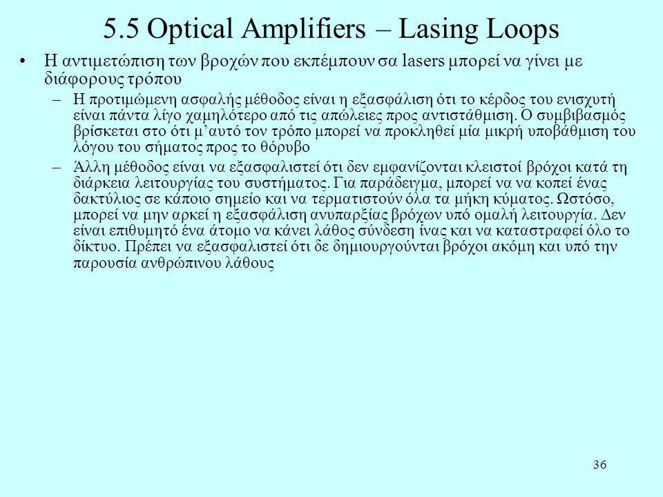 36 5.5 Optical Amplifiers – Lasing Loops •Η αντιμετώπιση των βροχών που εκπέμπουν σα lasers μπορεί να γίνει με διάφορους τρόπου –Η προτιμώμενη ασφαλής μέθοδος είναι η εξασφάλιση ότι το κέρδος του ενισχυτή είναι πάντα λίγο χαμηλότερο από τις απώλειες προς αντιστάθμιση.