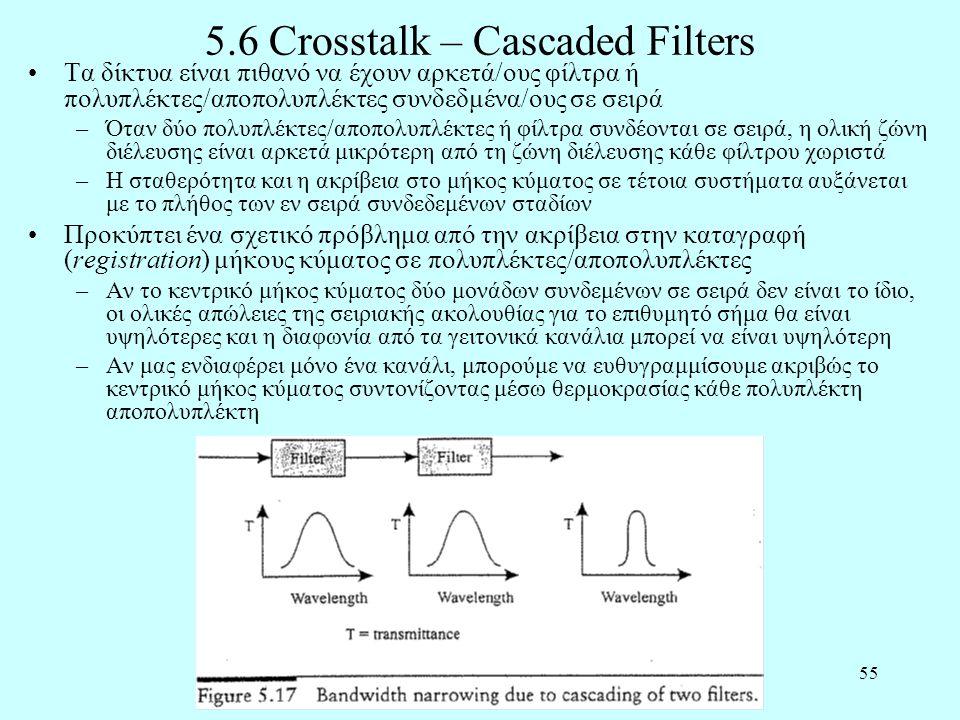 55 5.6 Crosstalk – Cascaded Filters •Τα δίκτυα είναι πιθανό να έχουν αρκετά/ους φίλτρα ή πολυπλέκτες/αποπολυπλέκτες συνδεδμένα/ους σε σειρά –Όταν δύο πολυπλέκτες/αποπολυπλέκτες ή φίλτρα συνδέονται σε σειρά, η ολική ζώνη διέλευσης είναι αρκετά μικρότερη από τη ζώνη διέλευσης κάθε φίλτρου χωριστά –Η σταθερότητα και η ακρίβεια στο μήκος κύματος σε τέτοια συστήματα αυξάνεται με το πλήθος των εν σειρά συνδεδεμένων σταδίων •Προκύπτει ένα σχετικό πρόβλημα από την ακρίβεια στην καταγραφή (registration) μήκους κύματος σε πολυπλέκτες/αποπολυπλέκτες –Αν το κεντρικό μήκος κύματος δύο μονάδων συνδεμένων σε σειρά δεν είναι το ίδιο, οι ολικές απώλειες της σειριακής ακολουθίας για το επιθυμητό σήμα θα είναι υψηλότερες και η διαφωνία από τα γειτονικά κανάλια μπορεί να είναι υψηλότερη –Αν μας ενδιαφέρει μόνο ένα κανάλι, μπορούμε να ευθυγραμμίσουμε ακριβώς το κεντρικό μήκος κύματος συντονίζοντας μέσω θερμοκρασίας κάθε πολυπλέκτη αποπολυπλέκτη