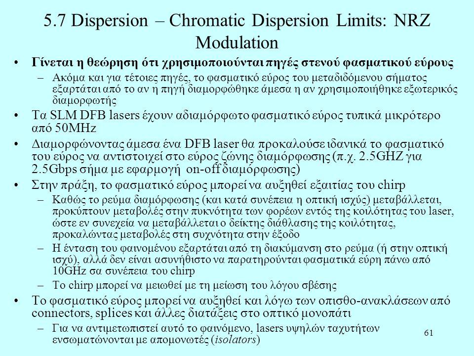 61 5.7 Dispersion – Chromatic Dispersion Limits: NRZ Modulation •Γίνεται η θεώρηση ότι χρησιμοποιούνται πηγές στενού φασματικού εύρους –Ακόμα και για τέτοιες πηγές, το φασματικό εύρος του μεταδιδόμενου σήματος εξαρτάται από το αν η πηγή διαμορφώθηκε άμεσα η αν χρησιμοποιήθηκε εξωτερικός διαμορφωτής •Τα SLM DFB lasers έχουν αδιαμόρφωτο φασματικό εύρος τυπικά μικρότερο από 50MHz •Διαμορφώνοντας άμεσα ένα DFB laser θα προκαλούσε ιδανικά το φασματικό του εύρος να αντιστοιχεί στο εύρος ζώνης διαμόρφωσης (π.χ.