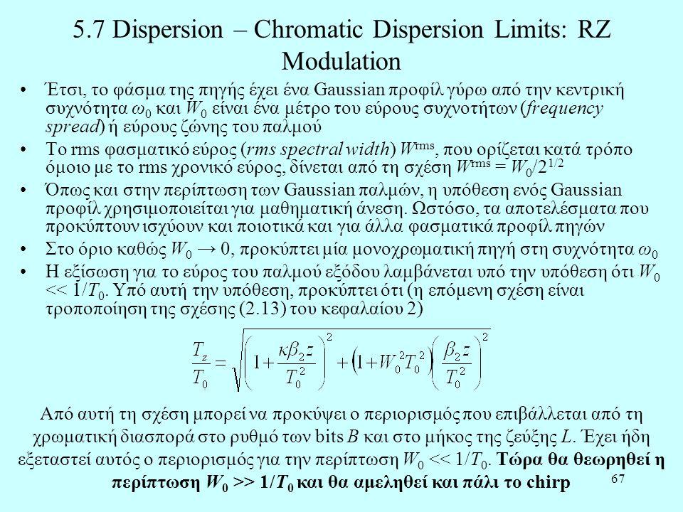 67 5.7 Dispersion – Chromatic Dispersion Limits: RZ Modulation •Έτσι, το φάσμα της πηγής έχει ένα Gaussian προφίλ γύρω από την κεντρική συχνότητα ω 0