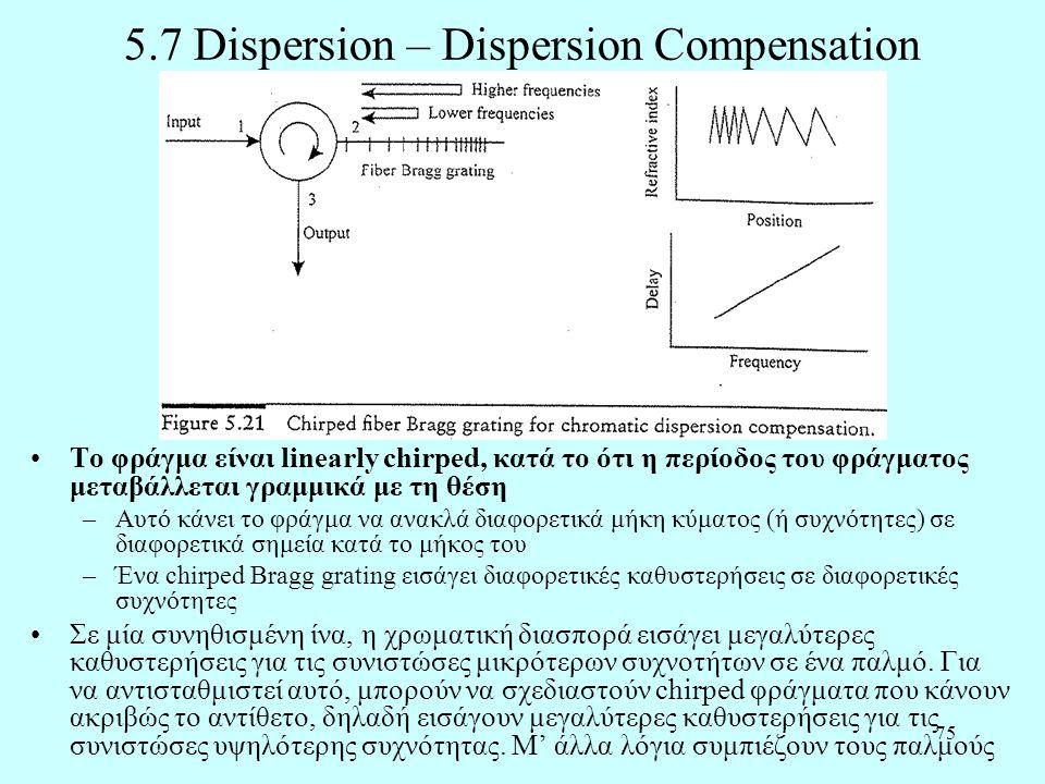 75 5.7 Dispersion – Dispersion Compensation •Το φράγμα είναι linearly chirped, κατά το ότι η περίοδος του φράγματος μεταβάλλεται γραμμικά με τη θέση –Αυτό κάνει το φράγμα να ανακλά διαφορετικά μήκη κύματος (ή συχνότητες) σε διαφορετικά σημεία κατά το μήκος του –Ένα chirped Bragg grating εισάγει διαφορετικές καθυστερήσεις σε διαφορετικές συχνότητες •Σε μία συνηθισμένη ίνα, η χρωματική διασπορά εισάγει μεγαλύτερες καθυστερήσεις για τις συνιστώσες μικρότερων συχνοτήτων σε ένα παλμό.