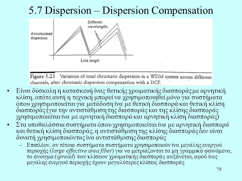 78 5.7 Dispersion – Dispersion Compensation •Είναι δύσκολη η κατασκευή ίνας θετικής χρωματικής διασποράς με αρνητική κλίση, οπότε αυτή η τεχνική μπορε