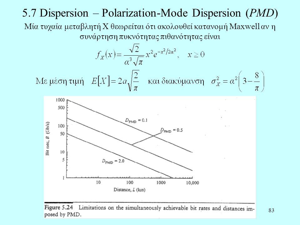 83 5.7 Dispersion – Polarization-Mode Dispersion (PMD) Μία τυχαία μεταβλητή X θεωρείται ότι ακολουθεί κατανομή Maxwell αν η συνάρτηση πυκνότητας πιθανότητας είναι