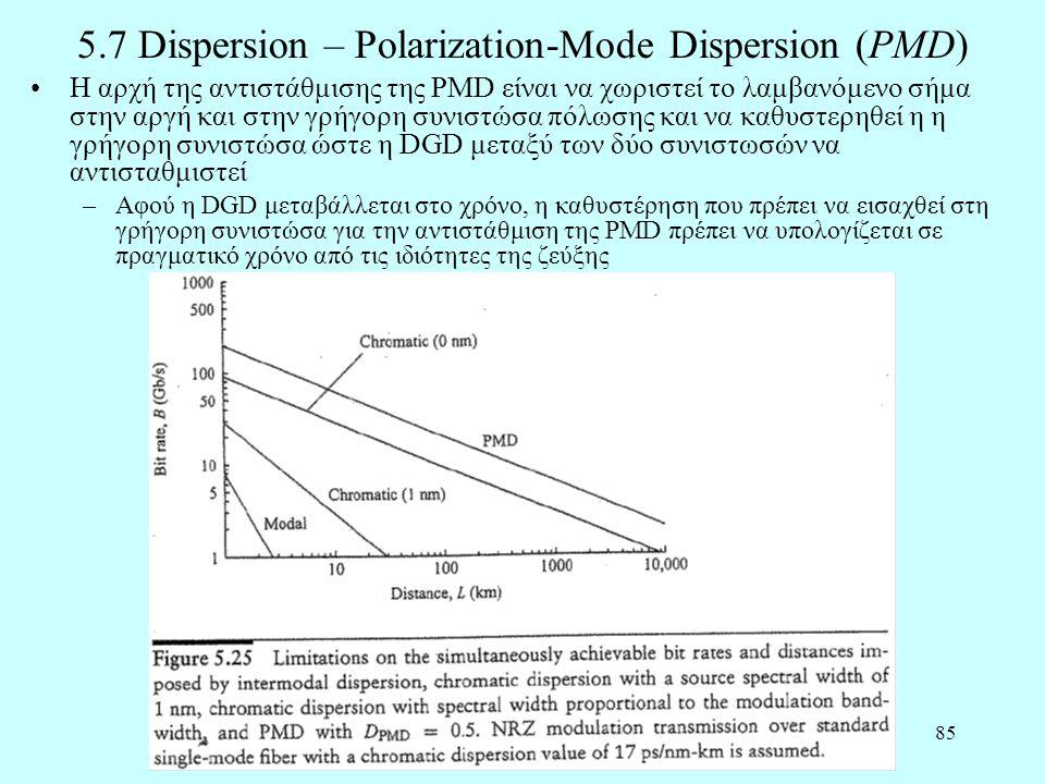 85 5.7 Dispersion – Polarization-Mode Dispersion (PMD) •Η αρχή της αντιστάθμισης της PMD είναι να χωριστεί το λαμβανόμενο σήμα στην αργή και στην γρήγορη συνιστώσα πόλωσης και να καθυστερηθεί η η γρήγορη συνιστώσα ώστε η DGD μεταξύ των δύο συνιστωσών να αντισταθμιστεί –Αφού η DGD μεταβάλλεται στο χρόνο, η καθυστέρηση που πρέπει να εισαχθεί στη γρήγορη συνιστώσα για την αντιστάθμιση της PMD πρέπει να υπολογίζεται σε πραγματικό χρόνο από τις ιδιότητες της ζεύξης