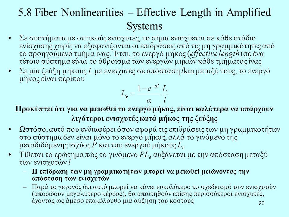 90 5.8 Fiber Nonlinearities – Effective Length in Amplified Systems •Σε συστήματα με οπτικούς ενισχυτές, το σήμα ενισχύεται σε κάθε στάδιο ενίσχυσης χωρίς να εξαφανίζονται οι επιδράσεις από τις μη γραμμικότητες από το προηγούμενο τμήμα ίνας.