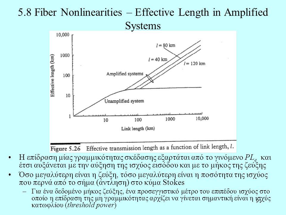 91 5.8 Fiber Nonlinearities – Effective Length in Amplified Systems •Η επίδραση μίας γραμμικότητας σκέδασης εξαρτάται από το γινόμενο PL e και έτσι αυξάνεται με την αύξηση της ισχύος εισόδου και με το μήκος της ζεύξης •Όσο μεγαλύτερη είναι η ζεύξη, τόσο μεγαλύτερη είναι η ποσότητα της ισχύος που περνά από το σήμα (άντληση) στο κύμα Stokes –Για ένα δεδομένο μήκος ζεύξης, ένα προσεγγιστικό μέτρο του επιπέδου ισχύος στο οποίο η επίδραση της μη γραμμικότητας αρχίζει να γίνεται σημαντική είναι η ισχύς κατωφλίου (threshold power)
