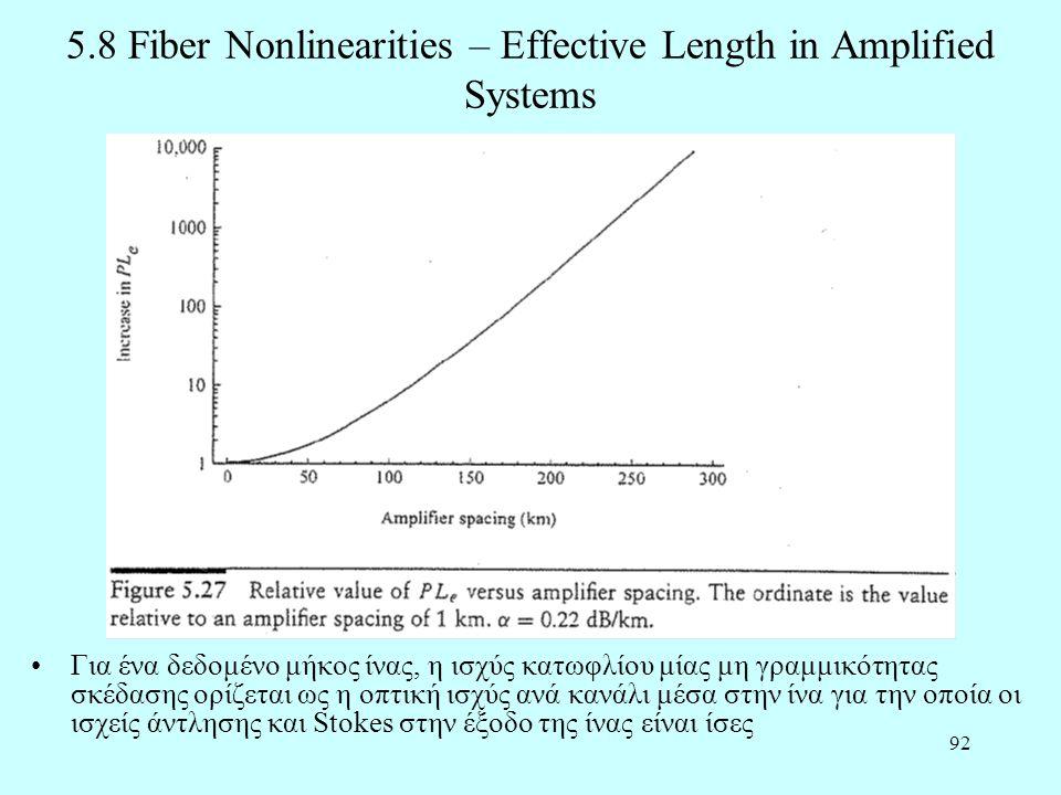 92 5.8 Fiber Nonlinearities – Effective Length in Amplified Systems •Για ένα δεδομένο μήκος ίνας, η ισχύς κατωφλίου μίας μη γραμμικότητας σκέδασης ορίζεται ως η οπτική ισχύς ανά κανάλι μέσα στην ίνα για την οποία οι ισχείς άντλησης και Stokes στην έξοδο της ίνας είναι ίσες