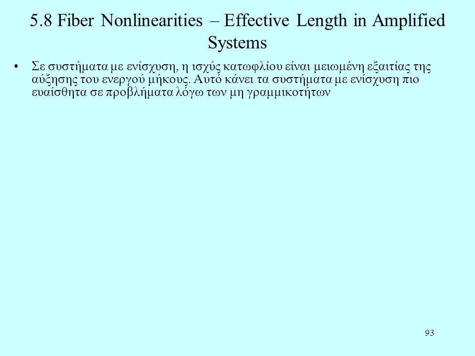 93 5.8 Fiber Nonlinearities – Effective Length in Amplified Systems •Σε συστήματα με ενίσχυση, η ισχύς κατωφλίου είναι μειωμένη εξαιτίας της αύξησης τ