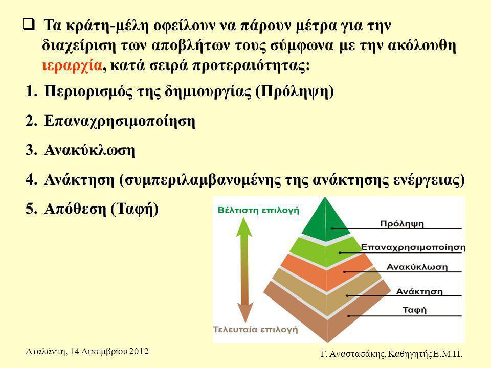 1.Περιορισμός της δημιουργίας (Πρόληψη) 2.Επαναχρησιμοποίηση 3.Ανακύκλωση 4.Ανάκτηση (συμπεριλαμβανομένης της ανάκτησης ενέργειας) 5.Απόθεση (Ταφή) 