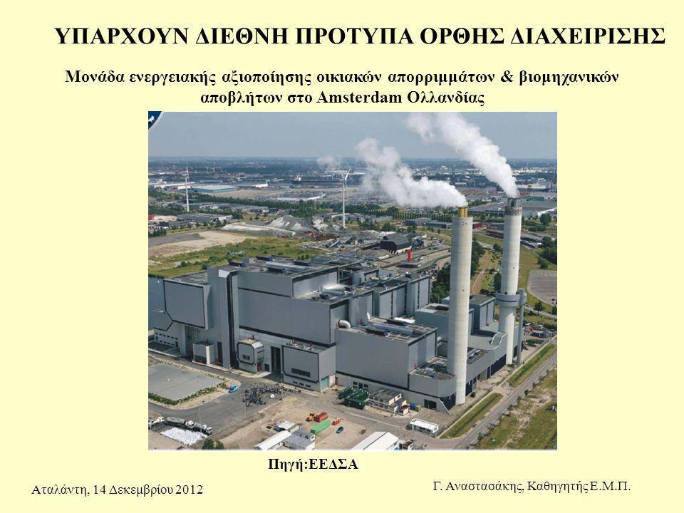 Μονάδα ενεργειακής αξιοποίησης οικιακών απορριμμάτων & βιομηχανικών αποβλήτων στο Amsterdam Ολλανδίας Γ. Αναστασάκης, Καθηγητής Ε.Μ.Π. ΥΠΑΡΧΟΥΝ ΔΙΕΘΝΗ