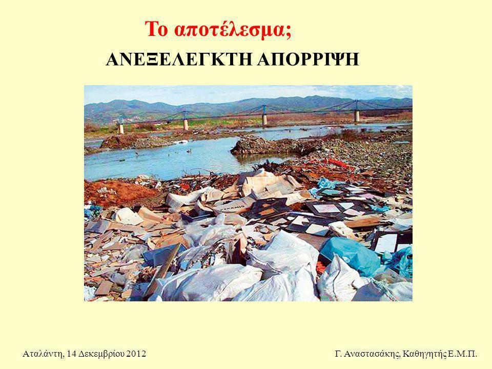 Το αποτέλεσμα; Γ. Αναστασάκης, Καθηγητής Ε.Μ.Π.Αταλάντη, 14 Δεκεμβρίου 2012 ΑΝΕΞΕΛΕΓΚΤΗ ΑΠΟΡΡΙΨΗ