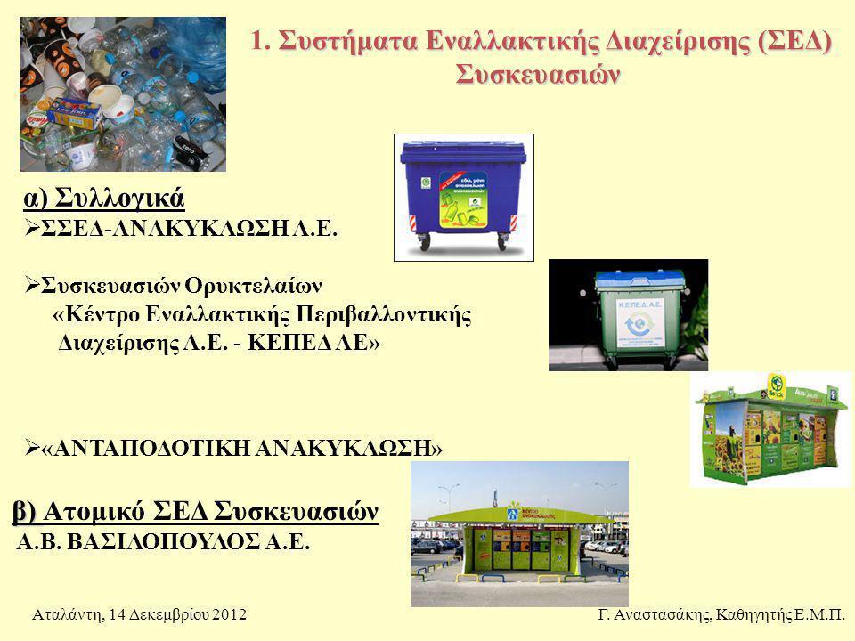Συστήματα Εναλλακτικής Διαχείρισης (ΣΕΔ) Συσκευασιών 1. Συστήματα Εναλλακτικής Διαχείρισης (ΣΕΔ) Συσκευασιών Γ. Αναστασάκης, Καθηγητής Ε.Μ.Π.Αταλάντη,