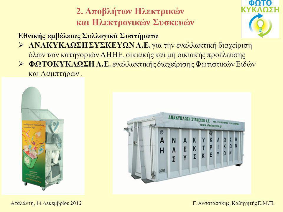 2. Αποβλήτων Ηλεκτρικών και Ηλεκτρονικών Συσκευών Γ. Αναστασάκης, Καθηγητής Ε.Μ.Π.Αταλάντη, 14 Δεκεμβρίου 2012 Εθνικής εμβέλειας Συλλογικά Συστήματα 