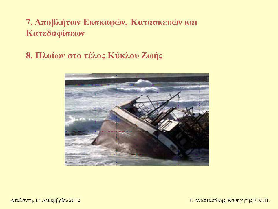 7. Αποβλήτων Εκσκαφών, Κατασκευών και Κατεδαφίσεων 8. Πλοίων στο τέλος Κύκλου Ζωής Γ. Αναστασάκης, Καθηγητής Ε.Μ.Π.Αταλάντη, 14 Δεκεμβρίου 2012