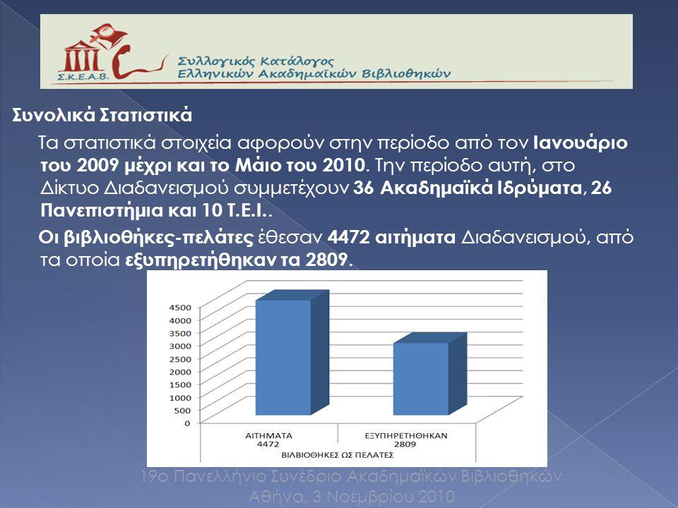Συνολικά Στατιστικά Τα στατιστικά στοιχεία αφορούν στην περίοδο από τον Ιανουάριο του 2009 μέχρι και το Μάιο του 2010.