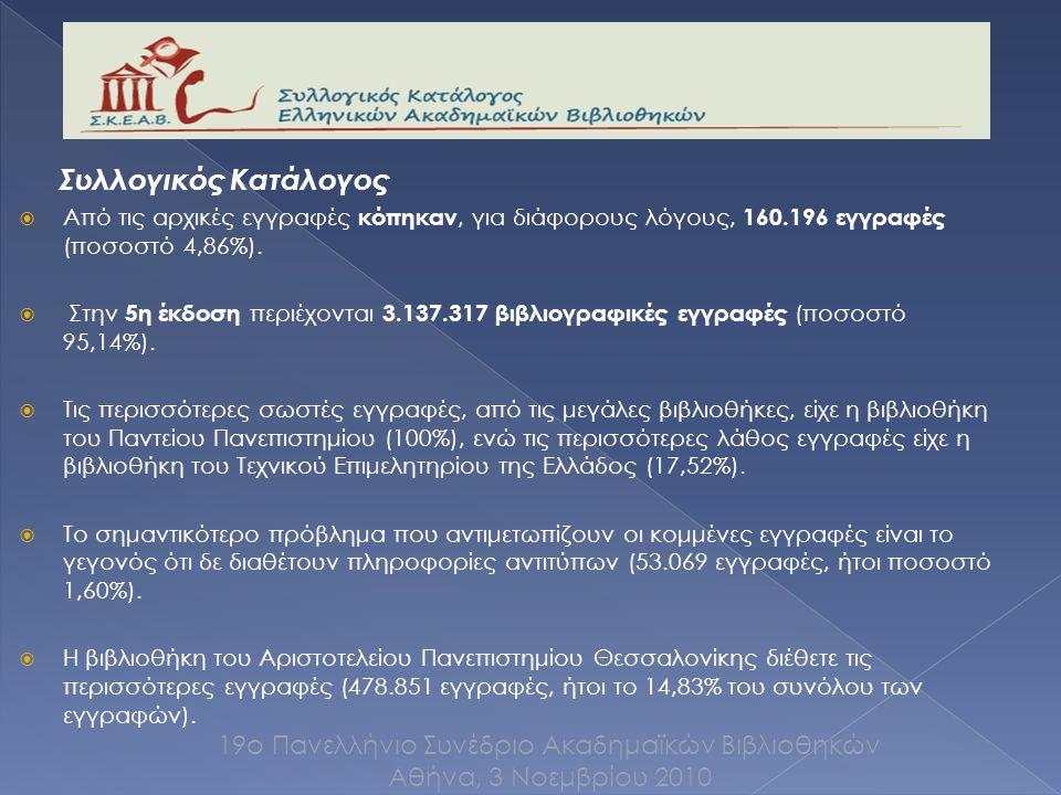Συλλογικός Κατάλογος  Από τις αρχικές εγγραφές κόπηκαν, για διάφορους λόγους, 160.196 εγγραφές (ποσοστό 4,86%).