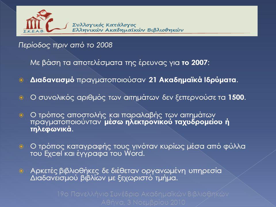 Περίοδος πριν από το 2008 Με βάση τα αποτελέσματα της έρευνας για το 2007 :  Διαδανεισμό πραγματοποιούσαν 21 Ακαδημαϊκά Ιδρύματα.