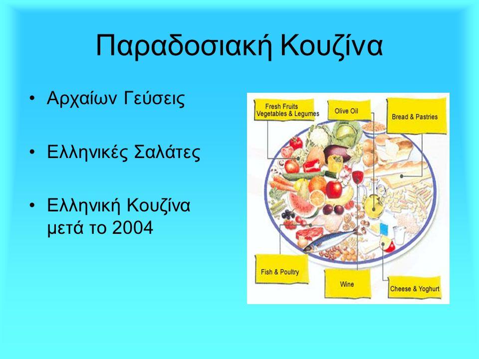 Παραδοσιακή Κουζίνα •Α•Αρχαίων Γεύσεις •Ε•Ελληνικές Σαλάτες •Ε•Ελληνική Κουζίνα μετά το 2004