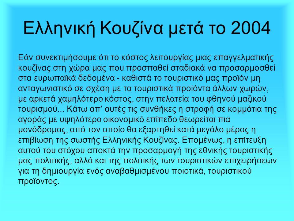Ελληνική Κουζίνα μετά το 2004 Εάν συνεκτιμήσουμε ότι το κόστος λειτουργίας μιας επαγγελματικής κουζίνας στη χώρα μας που προσπαθεί σταδιακά να προσαρμ
