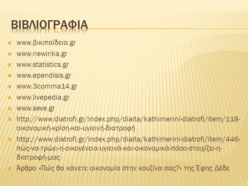  www.βικιπαίδεια.gr  www.newinka.gr  www.statistics.gr  www.ependisis.gr  www.3comma14.gr  www.livepedia.gr  www.seve.gr  http://www.diatrofi.gr/index.php/diaita/kathimerini-diatrofi/item/118- οικονομική-κρίση-και-υγιεινή-διατροφή  http://www.diatrofi.gr/index.php/diaita/kathimerini-diatrofi/item/446- πώς-να-τρώει-η-οικογένεια-υγιεινά-και-οικονομικά-πόσο-στοιχίζει-η- διατροφή-μας  Άρθρο «Πώς θα κάνετε οικονομία στην κουζίνα σας » της Έφης Δέδε
