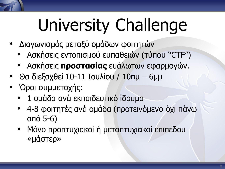 "University Challenge 8 • Διαγωνισμός μεταξύ ομάδων φοιτητών • Ασκήσεις εντοπισμού ευπαθειών (τύπου ""CTF"") • Ασκήσεις προστασίας ευάλωτων εφαρμογών. •"