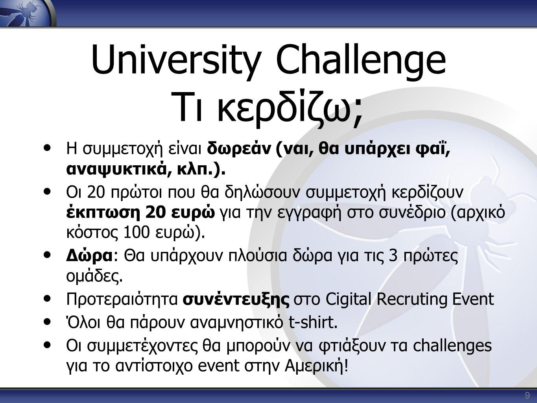 University Challenge Τι κερδίζω; • Η συμμετοχή είναι δωρεάν (ναι, θα υπάρχει φαΐ, αναψυκτικά, κλπ.). • Οι 20 πρώτοι που θα δηλώσουν συμμετοχή κερδίζου