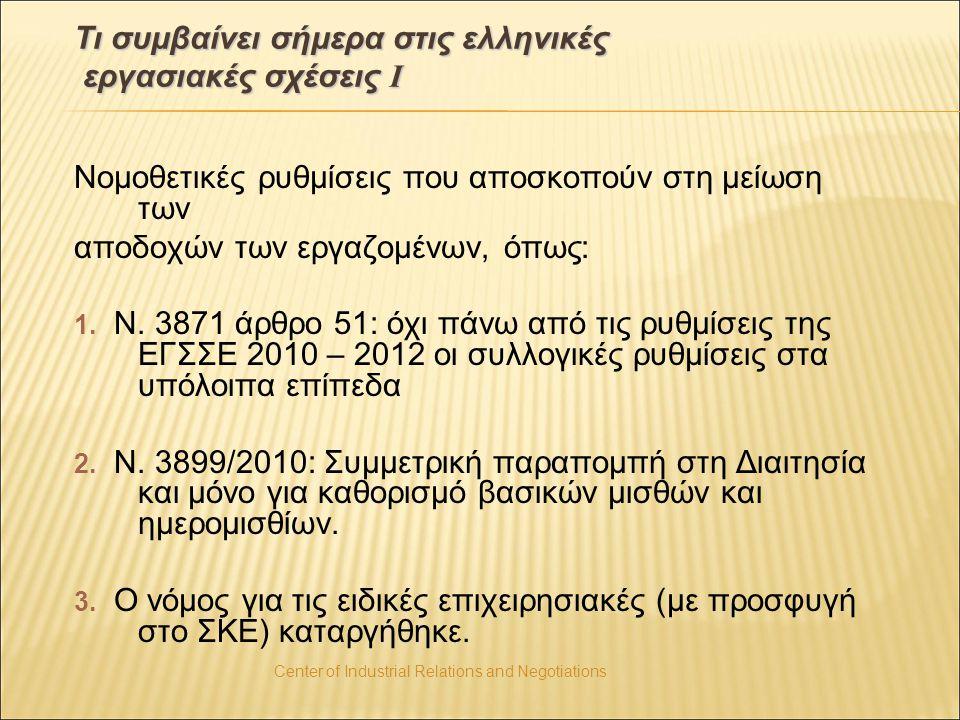 Center of Industrial Relations and Negotiations Τι συμβαίνει σήμερα στις ελληνικές εργασιακές σχέσεις Ι Νομοθετικές ρυθμίσεις που αποσκοπούν στη μείωσ