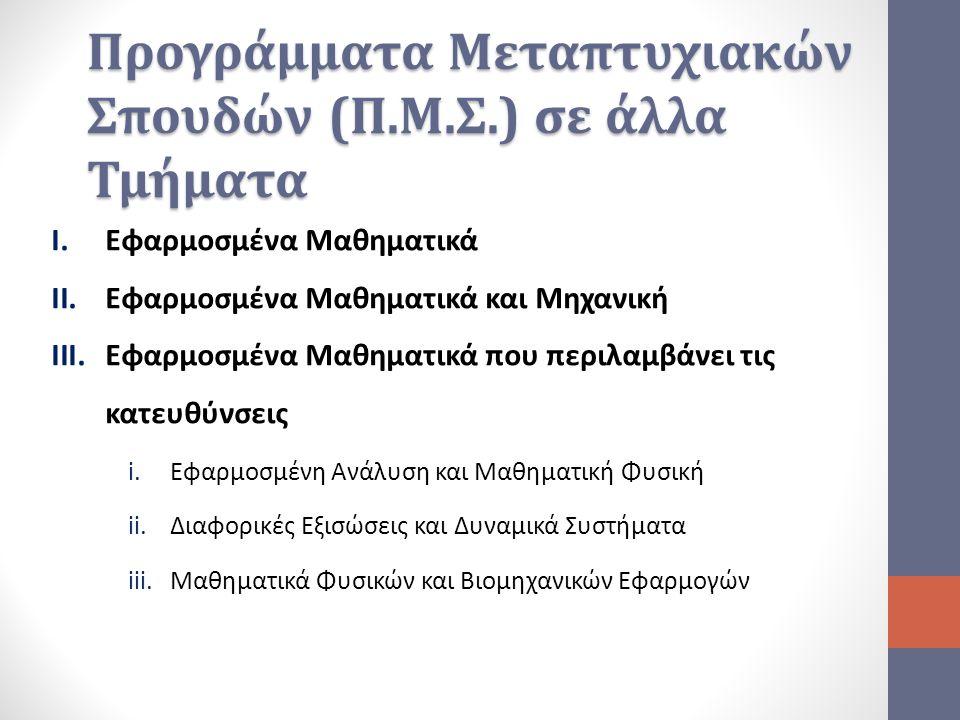 Προγράμματα Μεταπτυχιακών Σπουδών (Π.Μ.Σ.) σε άλλα Τμήματα I.Εφαρμοσμένα Μαθηματικά II.Εφαρμοσμένα Μαθηματικά και Μηχανική III.Εφαρμοσμένα Μαθηματικά