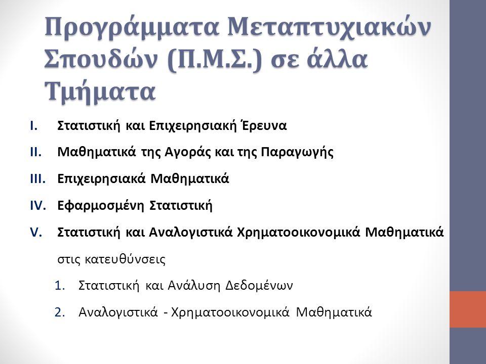 Προγράμματα Μεταπτυχιακών Σπουδών (Π.Μ.Σ.) σε άλλα Τμήματα I.Στατιστική και Επιχειρησιακή Έρευνα II.Μαθηματικά της Αγοράς και της Παραγωγής III.Επιχει