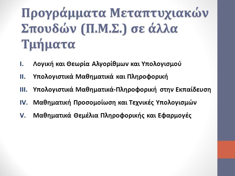 Προγράμματα Μεταπτυχιακών Σπουδών (Π.Μ.Σ.) σε άλλα Τμήματα I.Λογική και Θεωρία Αλγορίθμων και Υπολογισμού II.Υπολογιστικά Μαθηματικά και Πληροφορική I