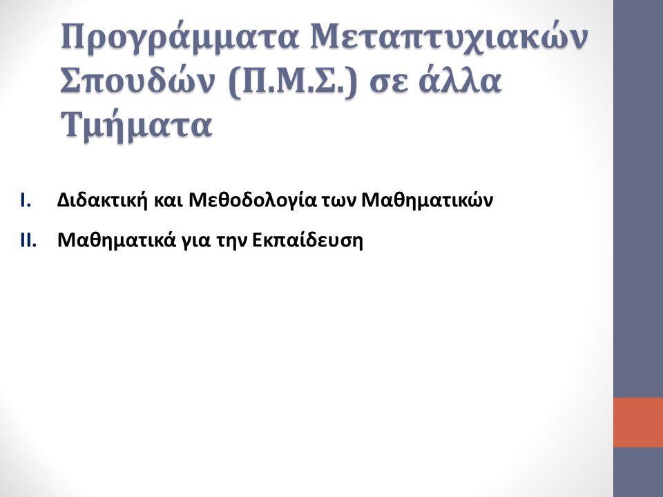 Προγράμματα Μεταπτυχιακών Σπουδών (Π.Μ.Σ.) σε άλλα Τμήματα I.Διδακτική και Μεθοδολογία των Μαθηματικών II.Μαθηματικά για την Εκπαίδευση