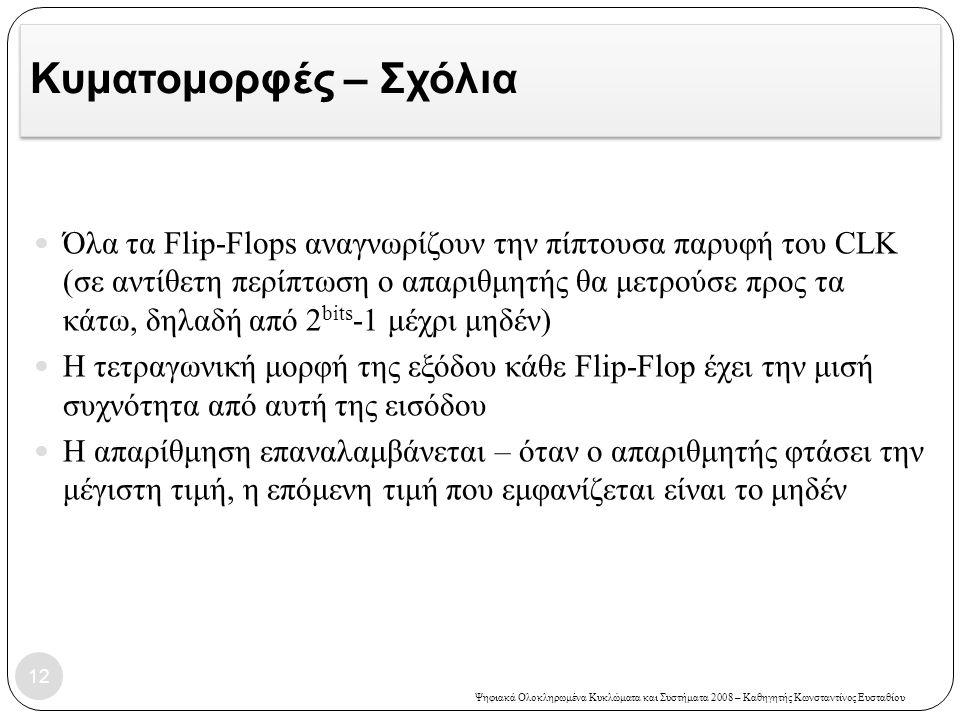 Ψηφιακά Ολοκληρωμένα Κυκλώματα και Συστήματα 2008 – Καθηγητής Κωνσταντίνος Ευσταθίου Κυματομορφές – Σχόλια  Όλα τα Flip-Flops αναγνωρίζουν την πίπτου