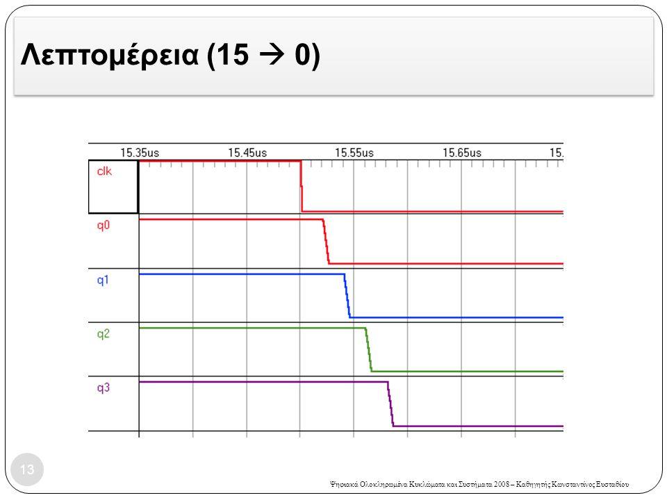 Ψηφιακά Ολοκληρωμένα Κυκλώματα και Συστήματα 2008 – Καθηγητής Κωνσταντίνος Ευσταθίου Λεπτομέρεια (15  0) 13