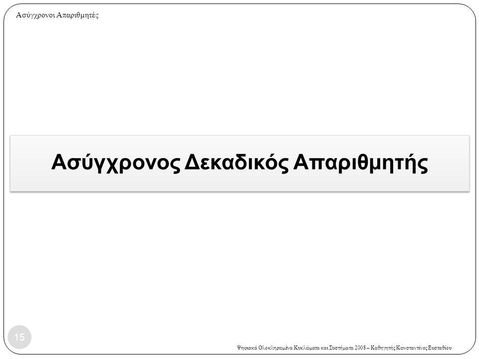 Ψηφιακά Ολοκληρωμένα Κυκλώματα και Συστήματα 2008 – Καθηγητής Κωνσταντίνος Ευσταθίου Ασύγχρονος Δεκαδικός Απαριθμητής 15 Ασύγχρονοι Απαριθμητές