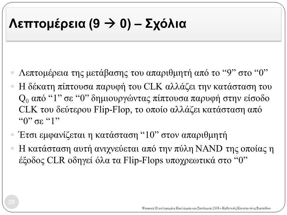 Ψηφιακά Ολοκληρωμένα Κυκλώματα και Συστήματα 2008 – Καθηγητής Κωνσταντίνος Ευσταθίου Λεπτομέρεια (9  0) – Σχόλια  Λεπτομέρεια της μετάβασης του απαρ