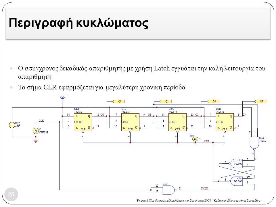 Ψηφιακά Ολοκληρωμένα Κυκλώματα και Συστήματα 2008 – Καθηγητής Κωνσταντίνος Ευσταθίου Περιγραφή κυκλώματος  Ο ασύγχρονος δεκαδικός απαριθμητής με χρήσ