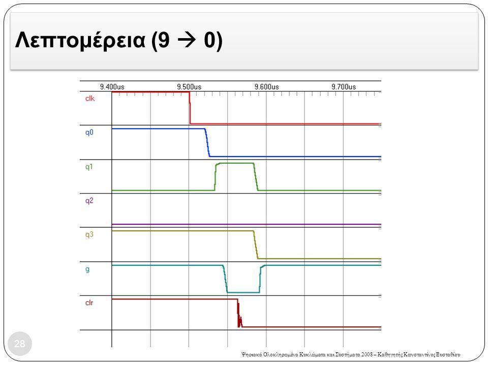 Ψηφιακά Ολοκληρωμένα Κυκλώματα και Συστήματα 2008 – Καθηγητής Κωνσταντίνος Ευσταθίου Λεπτομέρεια (9  0) 28