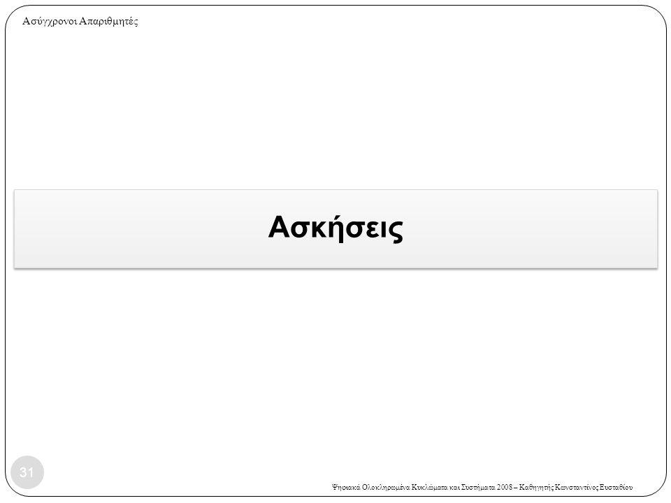 Ψηφιακά Ολοκληρωμένα Κυκλώματα και Συστήματα 2008 – Καθηγητής Κωνσταντίνος Ευσταθίου Ασκήσεις 31 Ασύγχρονοι Απαριθμητές