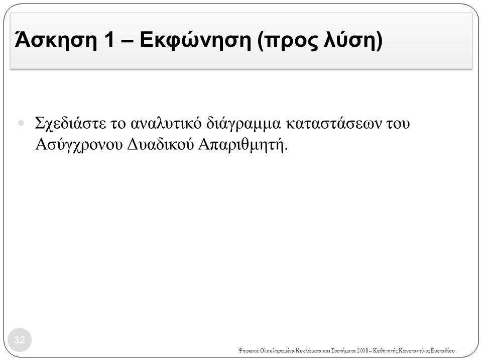 Ψηφιακά Ολοκληρωμένα Κυκλώματα και Συστήματα 2008 – Καθηγητής Κωνσταντίνος Ευσταθίου Άσκηση 1 – Εκφώνηση (προς λύση) 32  Σχεδιάστε το αναλυτικό διάγρ