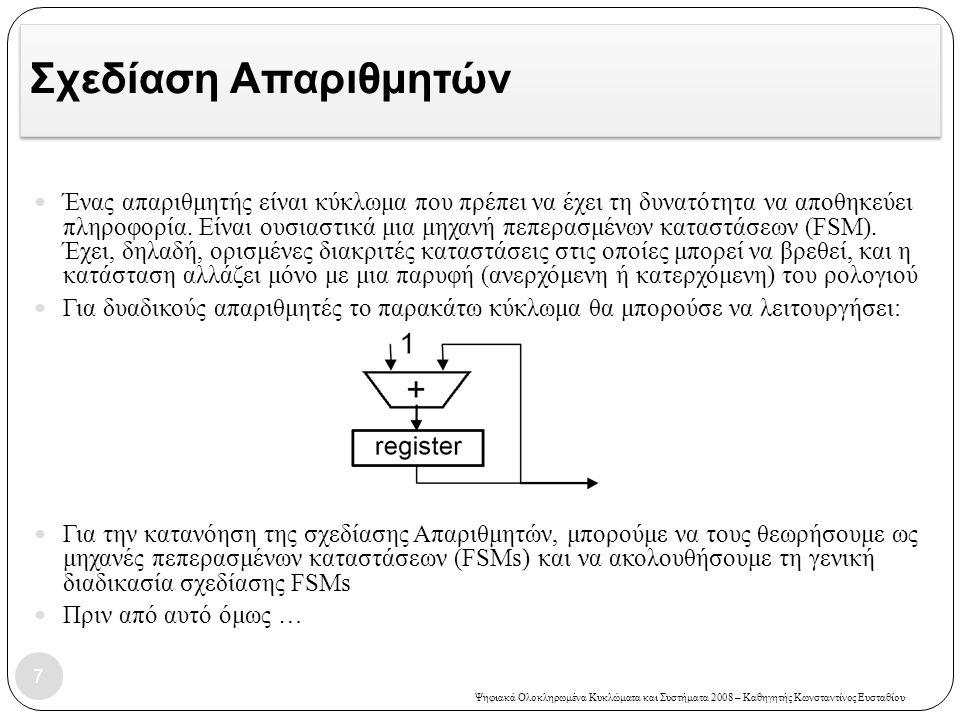 Ψηφιακά Ολοκληρωμένα Κυκλώματα και Συστήματα 2008 – Καθηγητής Κωνσταντίνος Ευσταθίου Σχεδίαση Απαριθμητών  Ένας απαριθμητής είναι κύκλωμα που πρέπει