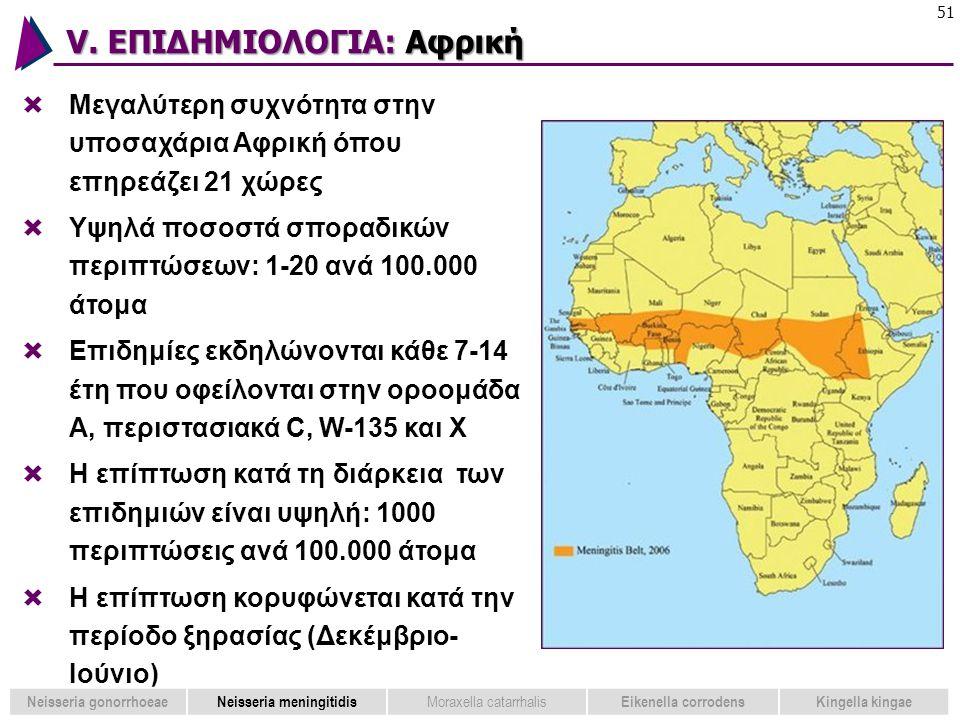 V. ΕΠΙΔΗΜΙΟΛΟΓΙΑ: Αφρική 51  Μεγαλύτερη συχνότητα στην υποσαχάρια Αφρική όπου επηρεάζει 21 χώρες  Υψηλά ποσοστά σποραδικών περιπτώσεων: 1-20 ανά 100