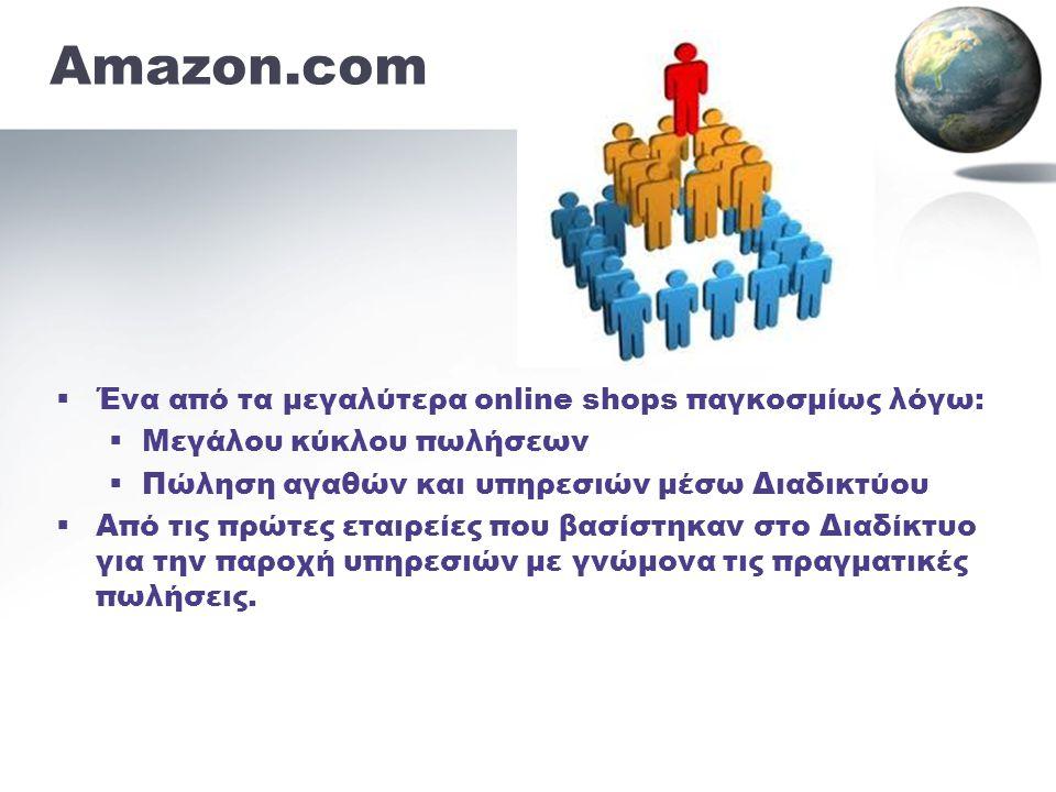 •Ίδρυση από τον Jeff Bezos •Έδρα το Seattle •Μεγαλύτερο ηλεκτρονικό βιβλιοπωλείο (αργότερα προστέθηκαν CD και ταινίες) 1994 •Λογισμικά, video games, παιχνίδια, είδη σπιτιού, κήπου, ένδυσης, κοσμήματα κ.ά.
